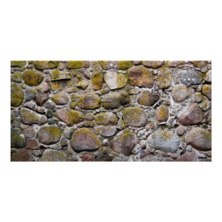 Ancient stone wall photo card template