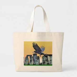 Ancient Stonehenge & Rook Corvid-lover's Gift Large Tote Bag