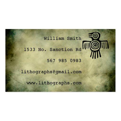 ancient symbols lithograph business card