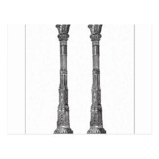 Ancient temple columns design postcard