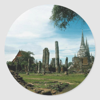 Ancient temple ruins, near Bangkok, Thailand Classic Round Sticker