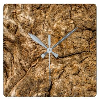 Ancient Timber Square Wall Clock