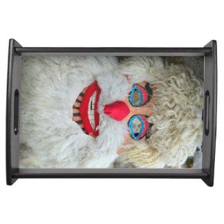 ancient traditional romanian dacian pagan mask fol serving tray