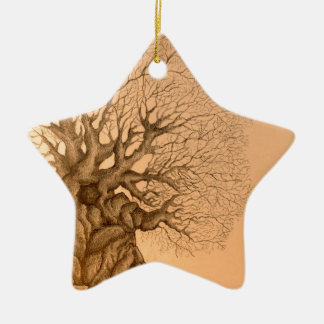 Ancient Tree Drawing Christmas Ornament