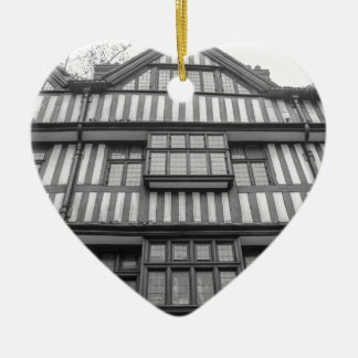 Ancient Tudor house in London Ceramic Heart Decoration