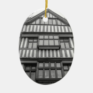 Ancient Tudor house in London Ceramic Oval Decoration