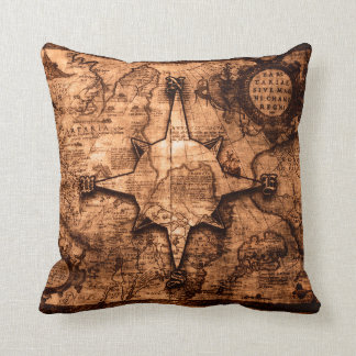 Ancient World Traveler - Map & Compass Rose Cushion
