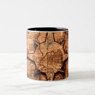 Ancient World Traveler - Map & Compass Rose Two-Tone Coffee Mug