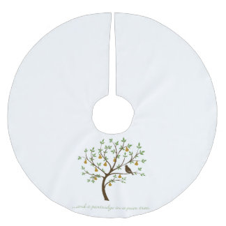 And a partridge in a pear tree brushed polyester tree skirt
