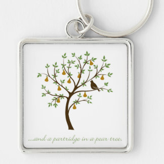 And a partridge in a pear tree Silver-Colored square key ring