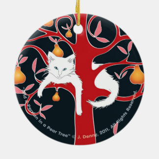 And a Persian in a Pear Tree... double sided Round Ceramic Decoration