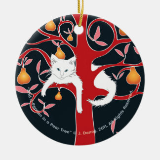 And a Persian in a Pear Tree... Round Ceramic Decoration