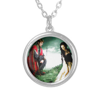 AND CHIVALRY WON HER HEART.jpg Round Pendant Necklace