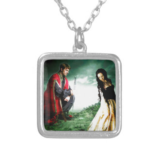 AND CHIVALRY WON HER HEART.jpg Square Pendant Necklace