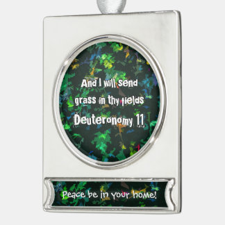 And I will send grass in thy fields Silver Plated Banner Ornament