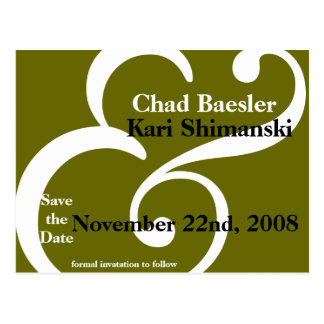 And Save the Date! green Postcard