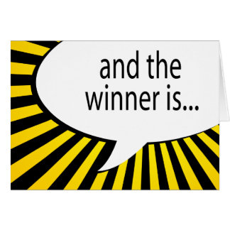 and the winner is! comic speech bubble greeting card