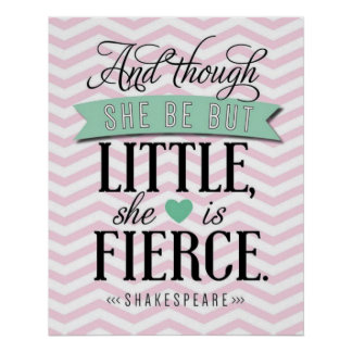 """And though she be but little, she is fierce."" Poster"