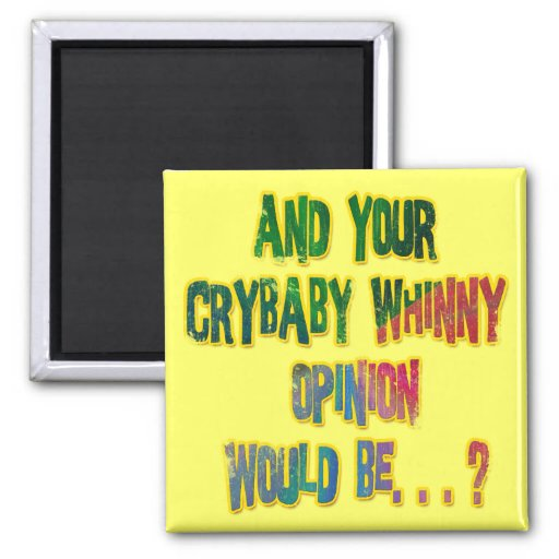 AND YOUR CRYBABY WHINNY OPINION WOULD BE FRIDGE MAGNETS
