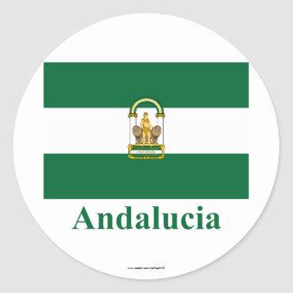 Andalucía flag with name round sticker