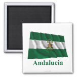 Andalucía waving flag with name square magnet
