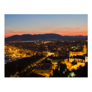 Andalusia - Malaga at sunset postcard