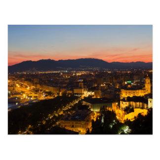 Andalusia - Malaga at sunset postcard