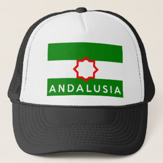 andalusia region flag spain country text name trucker hat