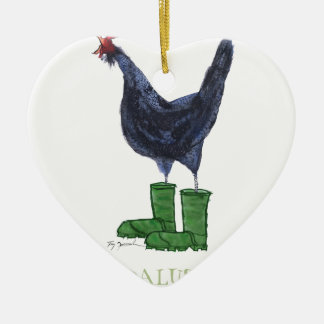 Andalusian Hen, tony fernandes Ceramic Heart Decoration