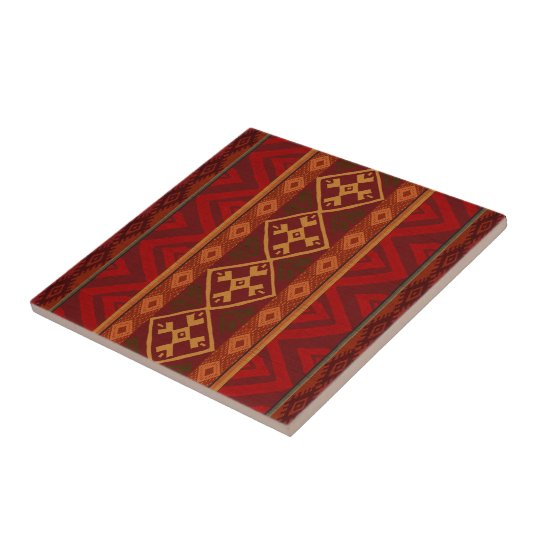 Andean Inspired Rust Red Pattern Tile