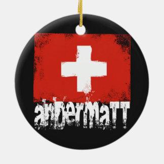 Andermatt Grunge Flag Round Ceramic Decoration