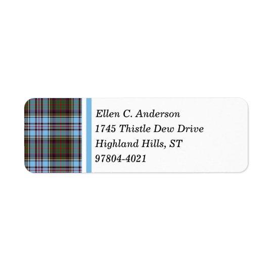 Anderson Clan Light Blue Scottish Tartan Return Address Label