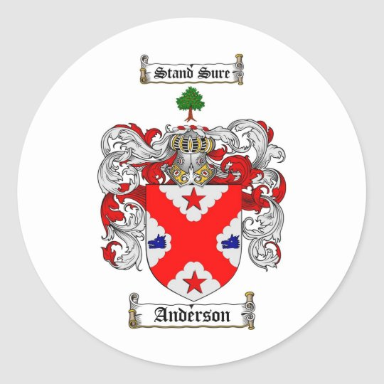 ANDERSON FAMILY CREST -  ANDERSON COAT OF ARMS CLASSIC ROUND STICKER
