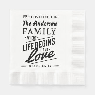 Anderson Family Member Reunion Vintage Typography Paper Napkins