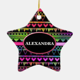 Andes Aztec Tribal Native Geometric Tie Die Neon Ceramic Star Decoration