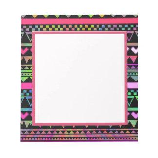 Andes Aztec Tribal Native Geometric Tie Die Neon Notepad