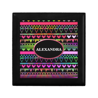 Andes Aztec Tribal Native Geometric Tie Die Neon Small Square Gift Box