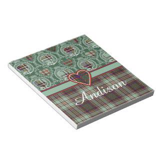 Andison clan Plaid Scottish kilt tartan Notepad