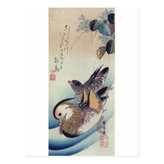 Ando Hiroshige Mandarin Ducks Color Woodcut Postcard