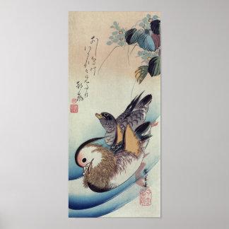 Ando Hiroshige Mandarin Ducks Color Woodcut Poster