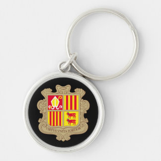 andorra arms Silver-Colored round key ring