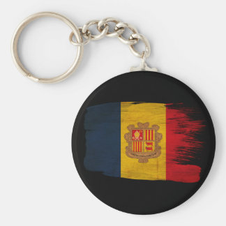 Andorra Flag Basic Round Button Key Ring