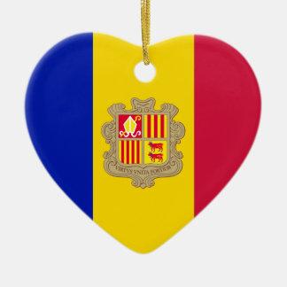 Andorra Flag Heart Ornament