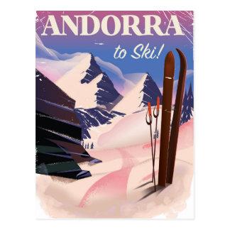 Andorra vintage Ski poster Postcard