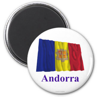 Andorra Waving Flag with Name 6 Cm Round Magnet