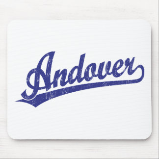Andover script logo in blue mouse mats