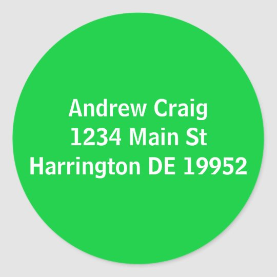 Andrew Craig1234 Main StHarrington DE 19952 Round Sticker