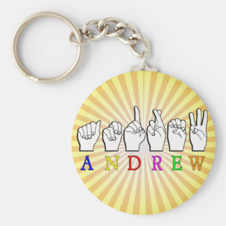 ANDREW  FINGERSPELLED ASL SIGN NAME FE MALE BASIC ROUND BUTTON KEY RING