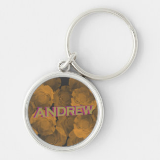 Andrew in 3D gold over peach chroma rose blooms Keychains