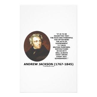 Andrew Jackson Distinctions Exist Under Just Gov't Customised Stationery